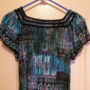 Turquoise and Black Blouse